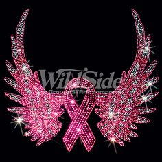 CANCER AWARENESS WINGS - PINK RIBBON (RHINESTONE / STUDS) | The Wild Side
