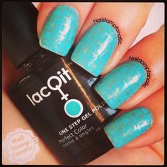 LacQit One Step Gel Polish In a Blue Streak with some awesome nail stamping by instagrams @nailstampfanatic