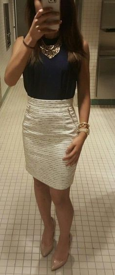 Office Outfit | white skirt + dark blue top