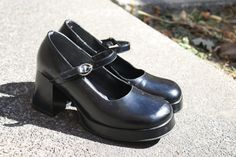 vintage 90s GOTH GRUNGE womens mary jane mini by 33vintage on Etsy, $30.00/ I used to have shoes like this until they finally got too worn and fell apart. I miss them as you cannot buy chunky heeled soles like that anymore it seems :(.