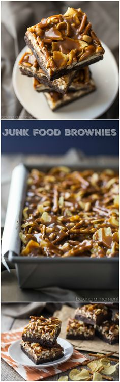 A dark chocolate-y, fudgy brownie, topped with pretzels, potato chips, peanuts, and caramel. These are completely over-the-top!