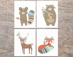 Tribal Nursery Art Prints Tribal Animals Nursery Prints