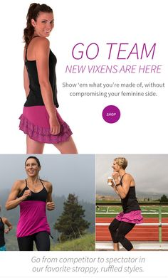 @skirtsports Vixen line has been updated with new colors! They have a Vixen tank, Vixen skirt, and Vixen capris - all awesome styles in fabulous new colors & patterns! I personally own the Vixen skirt and it is so flirty and fun with the asymmetrical hemline and ruffles. Definitely a favorite item in my wardrobe!! #REALwomenmove #converttoskirt #skirtsports