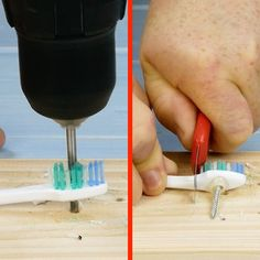 9 tricks with drill you need to know - Before After DIY 5 Min Crafts, Diy Crafts Hacks, Diy Home Crafts, Diy Arts And Crafts, Simple Life Hacks, Useful Life Hacks, Diy Cleaning Products, Cleaning Hacks, Wooden Tool Boxes