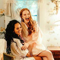 Love you love you❤️ Happy Birthday Bestie, Vanessa Morgan, Madelaine Petsch, Riverdale Cast, Cheryl Blossom, Besties, White Dress, Wonder Woman, Photo And Video