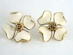 Trifari Enamel Earrings Flower Vintage by victoriajamesdesigns, $15.00