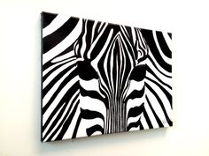 Zebra black and white canvas original wall painting £45.00
