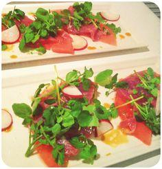 Tuna & Watermelon Carpaccio with Serrano Lime Vinaigrette - Gluten ...