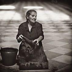 Women Cleaning Church, Malaga, 1966 / Jerome Liebling
