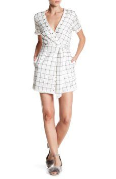 null - Giana Windowpane Wrap Romper