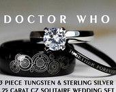 Doctor Who, ses 8MM Tungsten et sien 4MM argent Sterling 925 1,25 Carat Solitaire CZ bague de mariage ensemble,