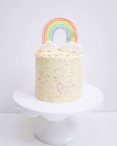Fresh Artisanal Cakes and Bakes - Delivered to London and Birmingham 2nd Birthday Cake Girl, Rainbow First Birthday, Birthday Ideas, Cute Cakes, Pretty Cakes, Bolo Cake, Funfetti Cake, Baking With Kids, Girl Cakes