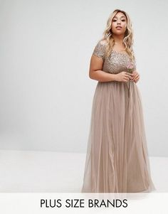 91212724438 Lovedrobe Luxe Bardot Maxi Dress With Delicate Sequin And Tulle Skirt Mink  UK 20