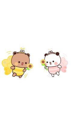 Cute Bunny Cartoon, Cute Cartoon Pictures, Cute Love Pictures, Cute Love Cartoons, Cute Profile Pictures, Cute Panda Wallpaper, Bear Wallpaper, Kawaii Wallpaper, Chibi Cat