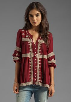 FREE PEOPLE Iris Boho Top in Deep Cranberry - Free People