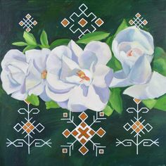 Traditional Latvian folk symbols with white blossoms on green. Acrylic on canvas. 40x40cm.