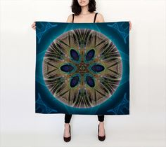 Peacock Power Silk Scarf, Square Scarf by Alicia Kent. Artwork printed on fabric and finished into a lovely square scarf Artwork Prints, Fine Art Prints, Shop Art, Human Soul, Square Scarf, Mandala Art, Wearable Art, Printing On Fabric, Peacock