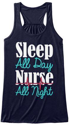 Sleep All Day Nurse All Night Midnight T-Shirt Front