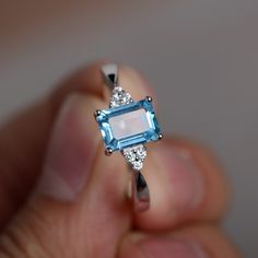 Natural Swiss Blue Topaz Ring Promise Ring Engagement Ring Blue Topaz Gemstone Stelring Silver Ring by KnightJewelry on Etsy https://www.etsy.com/listing/214672259/natural-swiss-blue-topaz-ring-promise