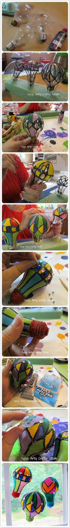 Make Hot Air Balloon Suncatchers from old lightbulbs - Just need different colours to be steampunk-esque!
