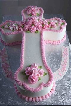 Love this just need blue icing in place of pink Baby Girl Baptism, Baby Christening, Cupcake Icing Recipe, Cupcake Cakes, Comunion Cakes, First Holy Communion Cake, Cross Cakes, Religious Cakes, Cake Pops