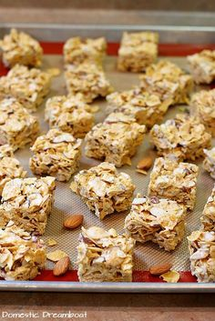 Chewy Marshmallow Cornflake Squares with Slices Almonds Cornflake Cookies No Bake, Cornflake Recipes, No Bake Desserts, Dessert Recipes, Oatmeal Squares, Cereal Treats, Recipes With Marshmallows, 9x13 Baking Dish, Corn Flakes