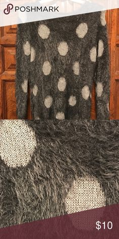 Fun soft fuzzy sweater! This is a super soft polka dot sweater. Great paired with skinny jeans and boots. Sweaters