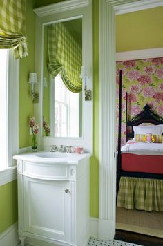 Love the green color in the bathroom, and the pinks and greens in the bedroom behind <3  Beautiful decorating!