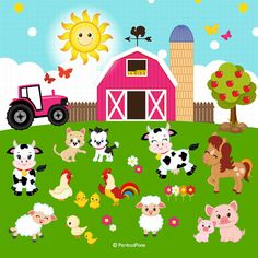 Farm animals clipart, Farmer Girls clipart, Farm clipart - Famous Last Words Animal Puzzle, Girl Clipart, Cute Animal Videos, Farm Theme, Alexander Hamilton, Animal Wallpaper, Clips, Stationery Design, Cookies Et Biscuits