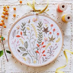 Welcome to my shop. This listing is for a Do It Yourself project and not the completed design.  Autumn Leaves Embroidery design can be appliqued to a pillow cover or a bag. It can also make an excellent wall decoration, framed in a hoop or any other frame of your choice. Perfect as a gift or a lovely addition to your home.  Autumn Leaves design is available in 3 different packaging. Please choose the option that best fits your needs.  ----------------------------------------------  Option 1…