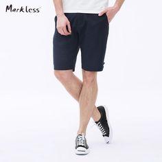 Markless Men's Slim Shorts Men Shorts Cotton and Linen Black Thin Short Pants Casual Knee-length Male Beach Shorts