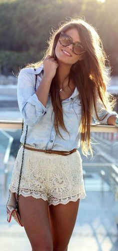 #summer #fashion / denim shirt + lace shorts