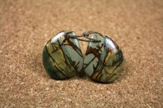 Red Creek Jasper Large Oval Earring Pair  Green and by ABOSBeads, $13.99
