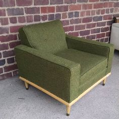 Super cheap green club chair in great condition. $75 #midcentury #forsale #clubchair #vintagechair #modernchair