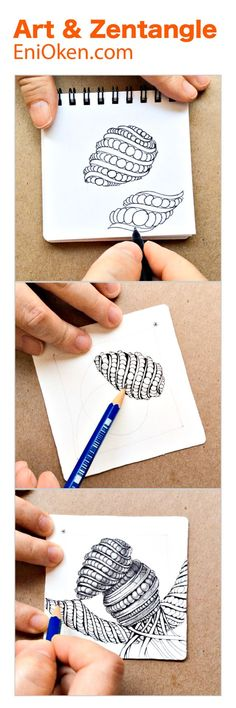 3D Shading in Zentangle still tricky? Purk extreme in 3D video. � enioken.com Zentangle Drawings, Doodles Zentangles, Doodle Drawings, Tangle Doodle, Zen Doodle, Doodle Art, Zantangle Art, Zen Art, Doodle Patterns