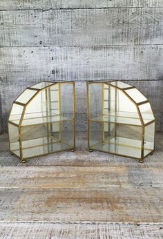 Glass and Brass Display Cases 2 Mirrored Curio Wall or Table Cabinets Glass Display Cases Hollywood Regency Display Case Jewelry Display Box by TheDustyOldShack on Etsy