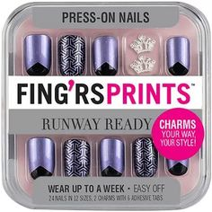 Fing'rs Prints Runway Ready Press-On Nails, Mirror Mirror, 26 count