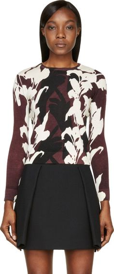 Floral Camo - Carven Burgundy & Ecru Sweater