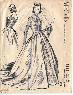 McCalls 4358 vintage sewing pattern ©1957; Bridal Dress Size 14 : Bust 34 inches Waist 26 inches Hip 36 inches Pattern is printed, cut and
