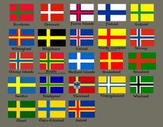 Nordic Flags: interesting to see Orkney and Shetland Islands in there, reflective of their viking history Thinking of making a flag board Vikings, National Symbols, National Flag, Cross Flag, Orkney Islands, Alternate History, Flags Of The World, Flag Design, Sweden