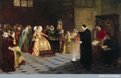 A painting depicting 'John Dee performing an experiment before Queen Elizabeth I.'  Oil painting by Henry Gillard Glindoni. Credit: Welcome Library, London