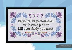 Be Polite Quote PDF cross stich pattern von cloudsfactory auf Etsy