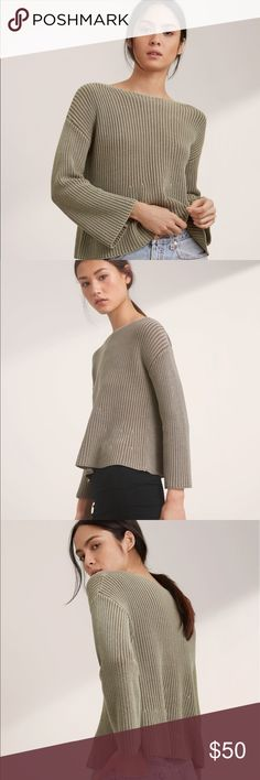 Aritzia Wilfred Free Marloes Sweater Knit with a pure cotton yarn that's soft and lightweight, this pullover sweater is ideal for warmer weather. The soft trapeze shape is complemented with belled sleeves for a look that plays off a vintage silhouette. Worn once in excellent condition. Made with pure cotton yarn that's soft, lightweight and ideal for the season. 100% Cotton Aritzia Sweaters