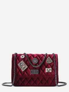 Shop Maroon Embellished Boxy Quilted Crossbody Chain Bag online. SheIn offers Maroon Embellished Boxy Quilted Crossbody Chain Bag & more to fit your fashionable needs.