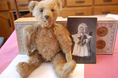 """ANTIQUE VINTAGE MOHAIR JOINTED TEDDY BEAR STRAW? STEIFF? 10"""" WITH A POSTCARD #"""