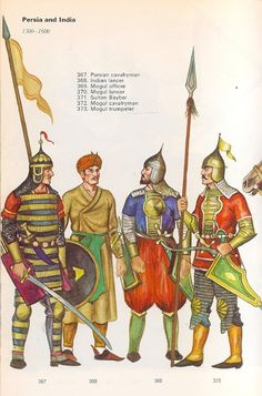 1500-1600 - 367 Persian cavalryman, 368 Indian lancer, 369 Mogul officer, 370 Mogul lancer, - Items held are larger and not to scale for details.