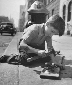 How to make a skateboard: plank of wood, roller skate wheels, nails & a hammer.