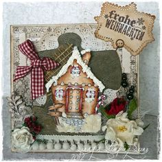 Christmas Card by Sandra Mathis, using papers from Inkido and the Gingerbread House image is a stamp from Vilda Stamps.