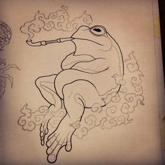 #frog #smoke #pipe #sketch #illustration #artwork #drawing #pencil #ink #tattoo…