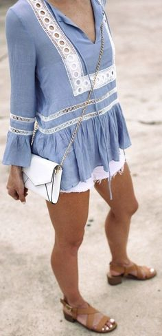 #summer #casualchic #outfits |  Chambray Embroidered Top + White Denim Shorts